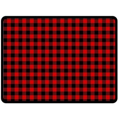 Lumberjack Plaid Fabric Pattern Red Black Fleece Blanket (Large)