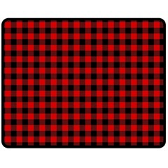 Lumberjack Plaid Fabric Pattern Red Black Fleece Blanket (Medium)