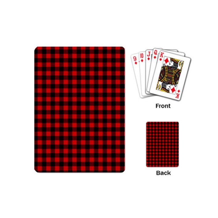 Lumberjack Plaid Fabric Pattern Red Black Playing Cards (Mini)