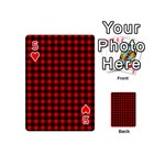 Lumberjack Plaid Fabric Pattern Red Black Playing Cards 54 (Mini)  Front - Heart5