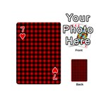 Lumberjack Plaid Fabric Pattern Red Black Playing Cards 54 (Mini)  Front - Heart7