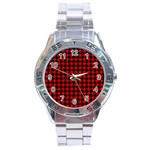 Lumberjack Plaid Fabric Pattern Red Black Stainless Steel Analogue Watch Front