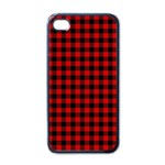Lumberjack Plaid Fabric Pattern Red Black Apple iPhone 4 Case (Black) Front