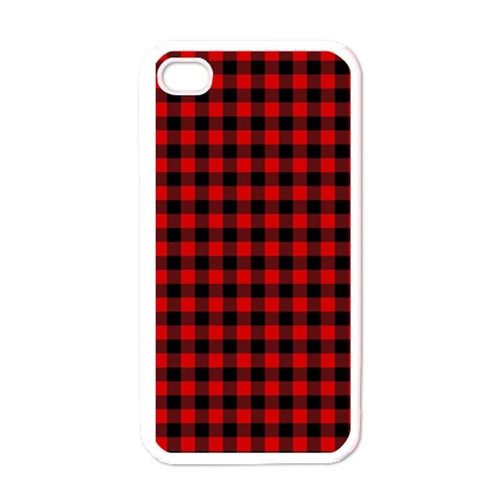 Lumberjack Plaid Fabric Pattern Red Black Apple iPhone 4 Case (White)