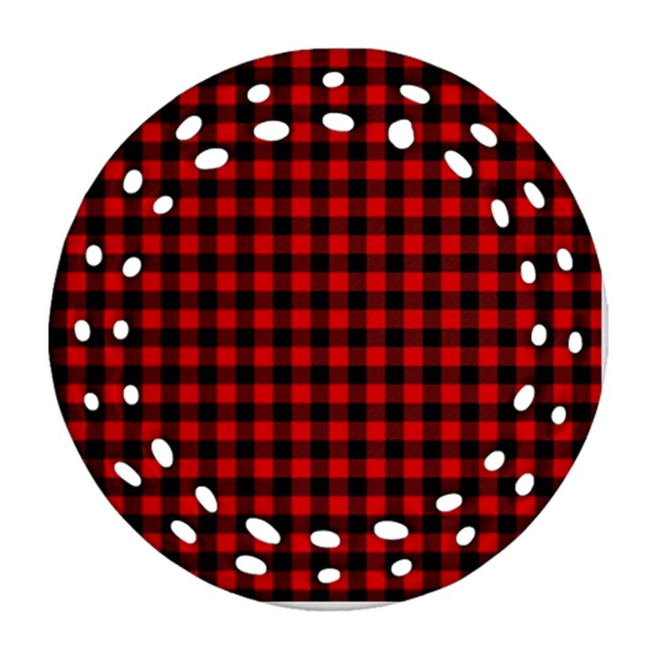 Lumberjack Plaid Fabric Pattern Red Black Ornament (Round Filigree)