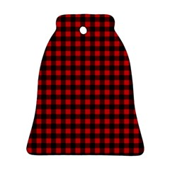 Lumberjack Plaid Fabric Pattern Red Black Ornament (Bell)