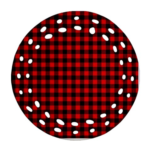 Lumberjack Plaid Fabric Pattern Red Black Round Filigree Ornament (2Side)