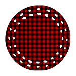 Lumberjack Plaid Fabric Pattern Red Black Round Filigree Ornament (2Side) Back
