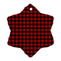 Lumberjack Plaid Fabric Pattern Red Black Snowflake Ornament (2-Side)