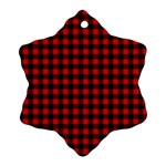 Lumberjack Plaid Fabric Pattern Red Black Snowflake Ornament (2-Side) Front