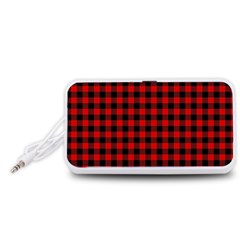 Lumberjack Plaid Fabric Pattern Red Black Portable Speaker (White)