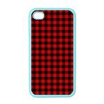 Lumberjack Plaid Fabric Pattern Red Black Apple iPhone 4 Case (Color) Front