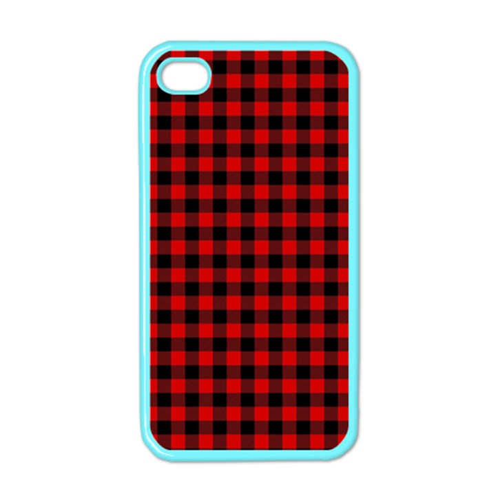 Lumberjack Plaid Fabric Pattern Red Black Apple iPhone 4 Case (Color)