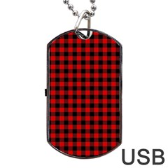 Lumberjack Plaid Fabric Pattern Red Black Dog Tag USB Flash (One Side)