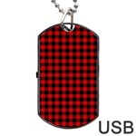 Lumberjack Plaid Fabric Pattern Red Black Dog Tag USB Flash (One Side) Front