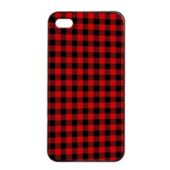 Lumberjack Plaid Fabric Pattern Red Black Apple iPhone 4/4s Seamless Case (Black)