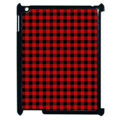 Lumberjack Plaid Fabric Pattern Red Black Apple iPad 2 Case (Black)