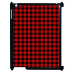 Lumberjack Plaid Fabric Pattern Red Black Apple iPad 2 Case (Black) Front