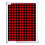 Lumberjack Plaid Fabric Pattern Red Black Apple iPad 2 Case (White) Front