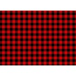 Lumberjack Plaid Fabric Pattern Red Black BOY 3D Greeting Card (7x5) Front