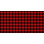 Lumberjack Plaid Fabric Pattern Red Black Twin Hearts 3D Greeting Card (8x4) Front