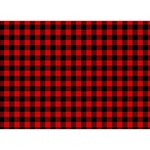 Lumberjack Plaid Fabric Pattern Red Black Heart Bottom 3D Greeting Card (7x5) Front