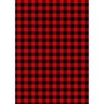 Lumberjack Plaid Fabric Pattern Red Black Heart Bottom 3D Greeting Card (7x5) Inside