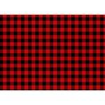 Lumberjack Plaid Fabric Pattern Red Black WORK HARD 3D Greeting Card (7x5) Front