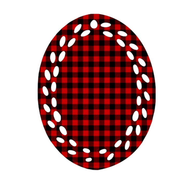 Lumberjack Plaid Fabric Pattern Red Black Oval Filigree Ornament (2-Side)