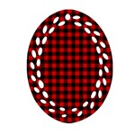 Lumberjack Plaid Fabric Pattern Red Black Oval Filigree Ornament (2-Side)  Back
