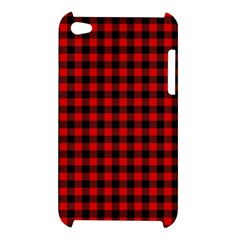 Lumberjack Plaid Fabric Pattern Red Black Apple iPod Touch 4