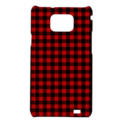 Lumberjack Plaid Fabric Pattern Red Black Samsung Galaxy S2 i9100 Hardshell Case