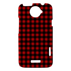 Lumberjack Plaid Fabric Pattern Red Black HTC One X Hardshell Case