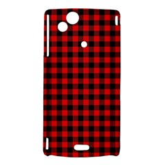 Lumberjack Plaid Fabric Pattern Red Black Sony Xperia Arc