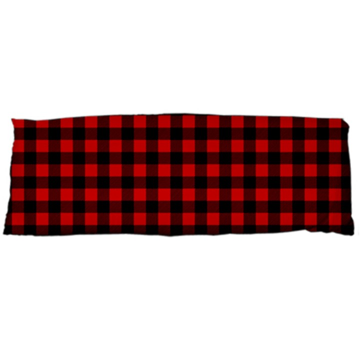 Lumberjack Plaid Fabric Pattern Red Black Body Pillow Case (Dakimakura)