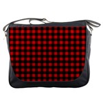 Lumberjack Plaid Fabric Pattern Red Black Messenger Bags Front