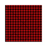 Lumberjack Plaid Fabric Pattern Red Black Acrylic Tangram Puzzle (6  x 6 ) Front
