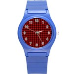 Lumberjack Plaid Fabric Pattern Red Black Round Plastic Sport Watch (S) Front