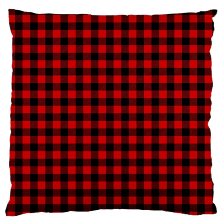 Lumberjack Plaid Fabric Pattern Red Black Large Cushion Case (One Side)
