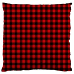 Lumberjack Plaid Fabric Pattern Red Black Large Cushion Case (Two Sides) Back
