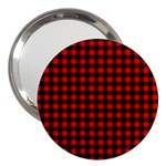 Lumberjack Plaid Fabric Pattern Red Black 3  Handbag Mirrors Front