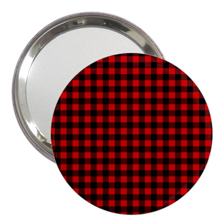 Lumberjack Plaid Fabric Pattern Red Black 3  Handbag Mirrors