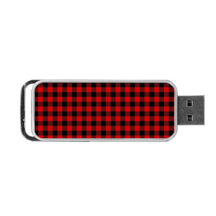 Lumberjack Plaid Fabric Pattern Red Black Portable USB Flash (One Side)