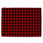 Lumberjack Plaid Fabric Pattern Red Black Cosmetic Bag (XXL)  Front