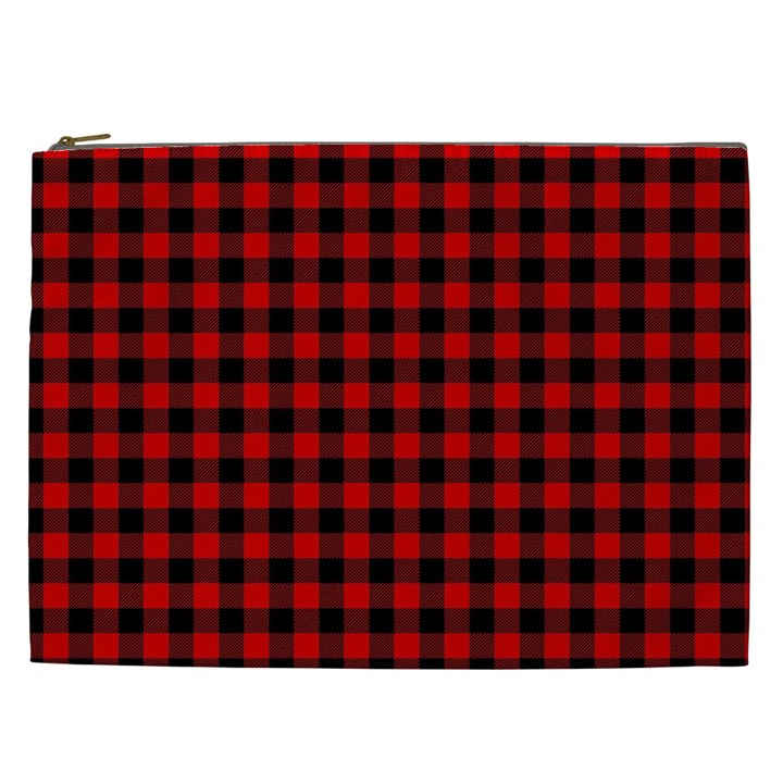 Lumberjack Plaid Fabric Pattern Red Black Cosmetic Bag (XXL)