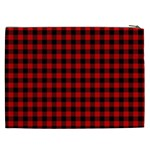 Lumberjack Plaid Fabric Pattern Red Black Cosmetic Bag (XXL)  Back