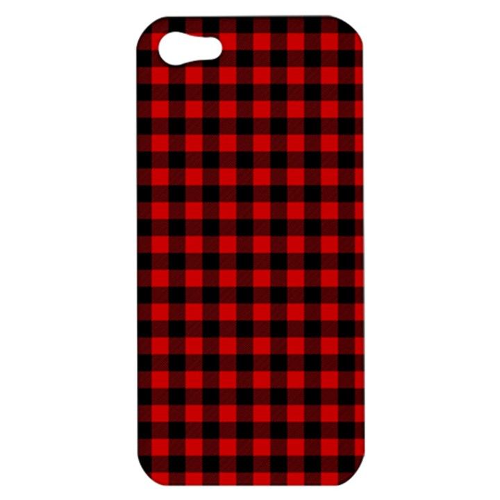 Lumberjack Plaid Fabric Pattern Red Black Apple iPhone 5 Hardshell Case