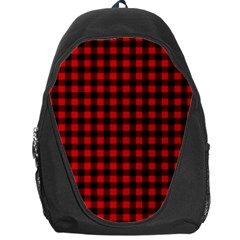 Lumberjack Plaid Fabric Pattern Red Black Backpack Bag