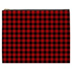 Lumberjack Plaid Fabric Pattern Red Black Cosmetic Bag (XXXL)  Front