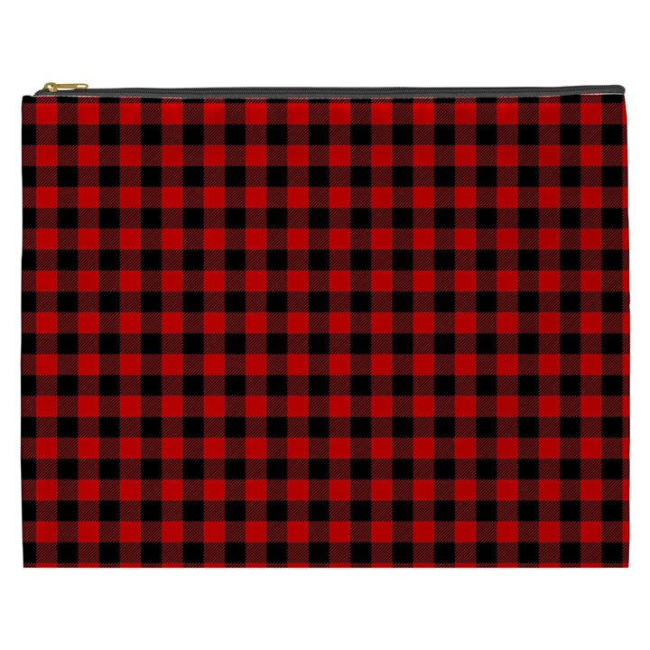 Lumberjack Plaid Fabric Pattern Red Black Cosmetic Bag (XXXL)